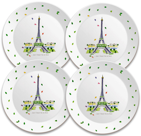 7 1/2 set of 4 plates will create the ambiance for your party  sc 1 st  Jill Butler & Eiffel Tower | Appetizer Plate Set